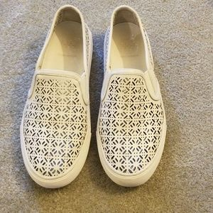 Tory burch Lennon laser cut white slip on sneakers